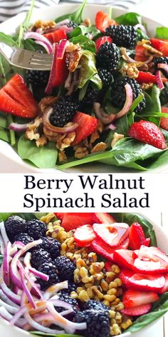 This healthy summer Berry Walnut Spinach Salad with Maple Vinaigrette is made with fresh spinach, berries and walnuts and an easy-to-make maple dressing! Recipe from Best Salad Recipes, Healthy Summer Recipes, Vegetarian Recipes, Cooking Recipes, Raw Veggie Recipes, Medeteranian Recipes, Best Summer Salads, Best Salads Ever, Winter Salad Recipes