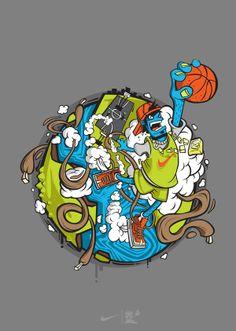 illustration made for Nike USA. see closeups here [link] jumper Urban Art, Cartoon Art, Graphic Illustration, Vector Art, Character Art, Pop Art, Concept Art, Street Art, Lion Sculpture