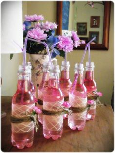 Pink lemonade in Pretty bottles - for Tangled Party