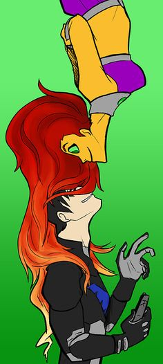 Fanart my artwork starfire dick grayson ? dat hair Nightwing young justice koriand'r Kory Anders otp: ghostship starfire is my homegirl Robin Starfire, Nightwing And Starfire, Batwoman, Batgirl, Beast Boy, Teen Titans Go, Young Justice, Oblyvian Girls, Harley Quinn