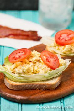 Egg Salad with Bacon: Lightened up, protein packed egg salad with crispy center cut bacon--easy and delicious!