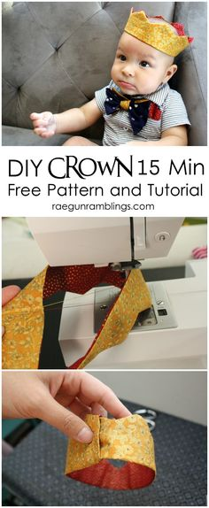15 minute Fabric Crown Tutorial and FREE pattern (baby to adult) from RaeGunRamblings.com --- Grab supplies at Joann.com