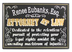 Attorney at Law Personalized Rectangular Sign