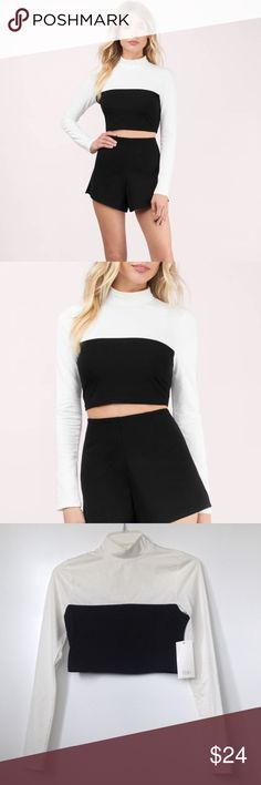 Long Sleeve Crop Top Super cute high neck long sleeve crop top! Fits pretty snug and goes just above the belly button. Perfect for winter nights out! Never worn with tags! Offers welcome :) Tobi Tops Crop Tops