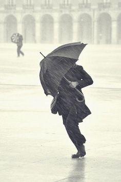 an umbrella fights the windy rain Rain Umbrella, Under My Umbrella, Walking In The Rain, Singing In The Rain, Rain Photography, Street Photography, Social Photography, Vladimir Nabokov, Arte Black
