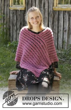 Crocheted poncho in DROPS Brushed Alpaca Silk. The piece is worked with puff stitches. Sizes S - XXXL. Malina The piece is worked back and forth like a scarf and then sewn together to make a poncho. Poncho Knitting Patterns, Crochet Stitches Patterns, Knitted Poncho, Crochet Patterns Amigurumi, Crochet Shawl, Free Crochet, Knit Crochet, Free Knitting, Crochet Stitches For Blankets
