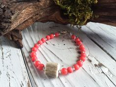 Deer Antler Jewelry. Three Piece Bracelet Set. Stackable Bracelets. Coral Bracelet. Coral Bracelet, Bracelet Set, Stackable Bracelets, Beaded Bracelets, Deer Antler Jewelry, Custom Jewelry, Handmade Jewelry, Elk Antlers, Horns
