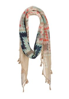 Geometric Print Scarf with Tassels (original price, $14) available at #Maurices
