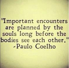 important encounters are planned by the souls long before..... - Paulo Coelho