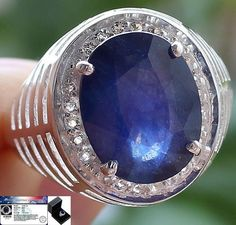 Men's 12.85 cts Expensive!!Expensive!!!! Blue Sapphire & W.Topaz Ring 925 S#10.5 #Jewelryploysai #Gents