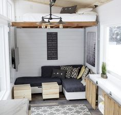 ana white tiny house elevating bed moveable furniture open concept home Best Tiny House, Modern Tiny House, Tiny House Living, Tiny House Design, Living Room, Rv Living, Tiny House Movement, Tiny House Furniture, Home Furniture