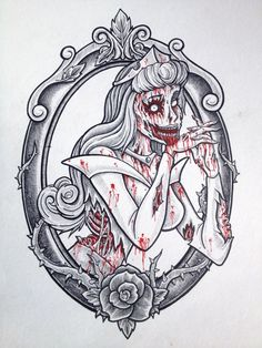 Zombie-Disney-Princesses-Sleeping-Beauty. I want a zombie or pin up princess aura tattoo!!!