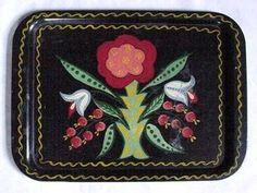 Vintage Pennsylvania Dutch Style Tin Tole Serving Tray Black w/Vibrant Flowers