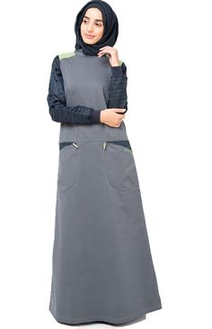 Silk Route Playful Pocket Jilbab perfect for casual outing or going shopping. Deep pocket with zipper closure would be perfect to store loose change, cellphone or other small nick nacks Deep front Poc Hijab Dress Party, Hijab Style Dress, Casual Hijab Outfit, Hijab Chic, Abaya Fashion, Muslim Fashion, Burqa Designs, Hijab Mode Inspiration, Abaya Mode