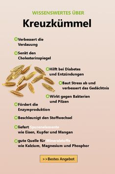 Kreuzkümmel Wirkung Cumin is something very precious among the natural health boosters in worldwide spice treasure chambers. At smartgrün.de you will learn more about the numerous advantages. Health Facts, Health And Nutrition, Health And Wellness, How To Stay Healthy, Healthy Life, Vitamin C Foods, Menu Dieta, Workout Plan For Women, Diet Books