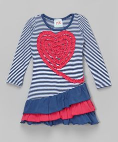 Another great find on #zulily! Navy Heart Ruffle Dress - Infant, Toddler & Girls by nktoo by Nohi Kids #zulilyfinds