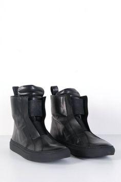 VICTIMS store - ODEUR PLAIN SNEACKERS BLACK LEATHER - MENS CLOTHES ONLINE