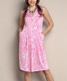 Look what I found on #zulily! Pink Floral Collared Fit & Flare Dress - Plus #zulilyfinds