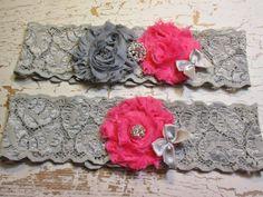 Wedding garter set, bridal garter, stretch lace garter set vintage style hot pink fushia and gray wedding on Etsy, $23.00
