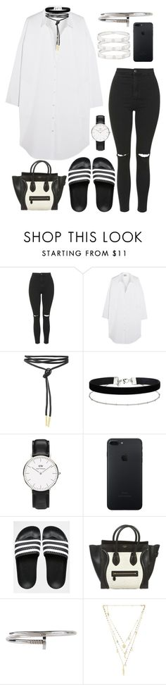 """""""inspired adidas adilette outfit"""" by cristinahope on Polyvore featuring Topshop, Acne Studios, Miss Selfridge, adidas, CÉLINE, Armitage Avenue, Ettika and Cartier"""