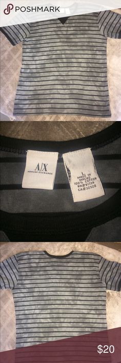 Grey & black Armani Exchange shirt. Size large in youth Armani Exchange grey shirt. Armani Exchange Shirts & Tops