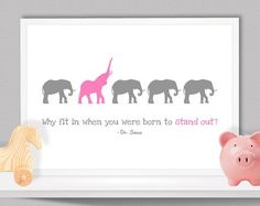Why Fit In When You Were Born To Stand Out Dr Seuss Quote Words A4/A3 Digital Print Wall Art Home Decor Baby Kids Child's Nursery Room Gift on Etsy, $22.86 by Aefio