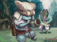 Aw, the palico using his little healing horn :) Monster Hunter Cat, Monster Hunter Series, Zelda Anime, Hunter Games, Funny Monsters, Dark Fantasy Art, Fantasy Artwork, Animal Totems, Cat Tattoo