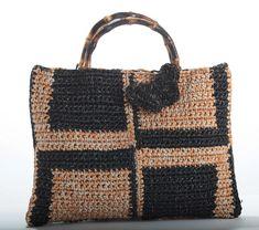 MOZAMBIQUE TOTE - jute raffia intarsia tote - crochet bag - Lorenza Gandaglia