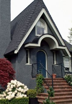 Charcoal Gray, Whie & Black with Royal Blue door House Exterior Color Schemes, Exterior Colors, Exterior Paint, Stone Stairs, Tool Sheds, Brick And Stone, Shop Front Design, Shop Plans, Shop Interior Design