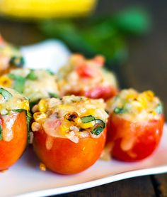 Roasted Corn and Basil Tomato Bites — Pinch of Yum
