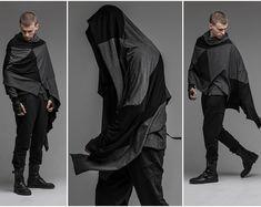 Hooded raincoat men black rain slicker rain poncho cape | Etsy Black Blanket Scarf, Grey Scarf, Hooded Poncho, Hooded Raincoat, Rain Poncho, Steampunk Jacket, Streetwear, Cyberpunk Clothes, Hand Knit Scarf