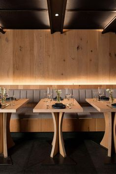 Bates Masi + Architects has designed 'Asset', a new modern restaurant in Manhattan that's located within an old building that had architectural details hidden behind years of renovations. Bar Interior, Interior Design, Hidden Lighting, Strip Lighting, Manhattan Restaurants, Expanded Metal, Oak Panels, Light Oak, Hospitality Design