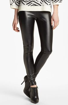 Nordstrom 'Double Trouble' Knit & Faux Leather Leggings available at Wish they had my size left! Denim Leggings, Faux Leather Leggings, Jeggings, Leggings Are Not Pants, Leather Pants, Shorts, Jeans, Nordstrom, Faux Leather Fabric