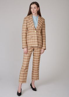 REJINA PYO Edith jacket - camel/orange/green on Garmentory Blazers For Women, Suits For Women, World Of Fashion, Fashion Brand, Rejina Pyo, Checked Blazer, Contemporary Fashion, Piece Of Clothing, Wide Leg Pants