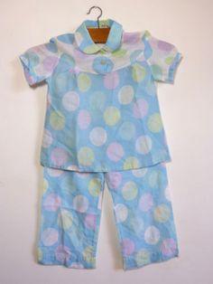 Pyjama-fillette-pois-geant-harmonie-bleu-pastel-pop-T-4-ans-vintage-annees-70 / Pale blue pastel harmony giant polka dots little girl's pajamas - size 4 years - French 70s vintage