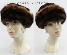 60s I Magnin Hat / 1960s Mink and Velvet Turban / by CrushVintage, $52.00