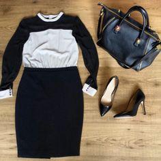 Zara pencil skirt dress zara stilletos heels Zara leather bag