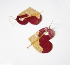 Heart Leather Earrings. Red Gold leafed earrings with Chains Free shipping worldwide
