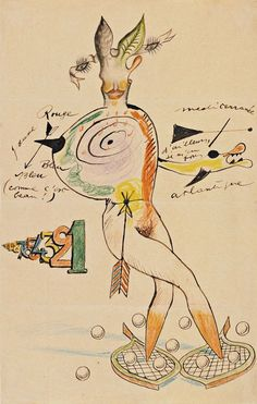 Exquisite corpse. Yves Tanguy, Joan Miró, Max Morise, Man Ray. c.1927.