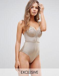 ASOS DESIGN FULLER BUST Exclusive Lattice Plunge Swimsuit DD-G at asos.com. Swimming  CostumeCut Out SwimsuitsWomen SwimsuitsAsosBathing CostumesPlunging ... d3f1dc7414