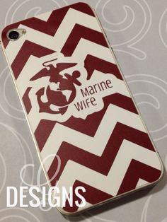 Marine Wife/Mom/Girlfriend/Sister/Fiance Chevron Print iPhone 4/4S Vinyl Decal by gdesigns7 on Etsy
