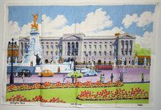 Buckingham Palace Linen Tea Towel - Vintage Mid Century London Souvenirs Britain Royals - New Old St Linen Towels, Tea Towels, Buckingham Palace London, London Souvenirs, Horse Wall Art, Vintage Horse, Mid Century Modern Art, British, Crazy Colour