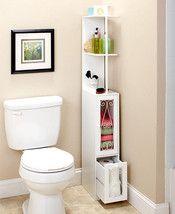 Space Saving Slim Metal Scrolled Wooden Storage Cabinet Black or White Cupboard . ] Space Saving S Bathroom Flooring, Bathroom Furniture, Bathroom Interior, Bathroom Ideas, Bathroom Cabinets, Bathroom Bin, Bathroom Grey, Mirror Bathroom, Bathroom Modern