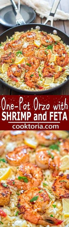 Very easy to make, yet unbelievably delicious, this One Pot Orzo with Shrimp and Feta is worthy of a special occasion! ❤️ http://COOKTORIA.COM