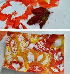 Blätterumrisse mit Farbe malen