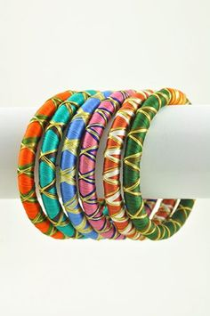 Colorful Threaded Indian Bangle Bracelet Set