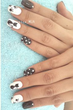 Cat polkadot nail art using IBD just gel polish