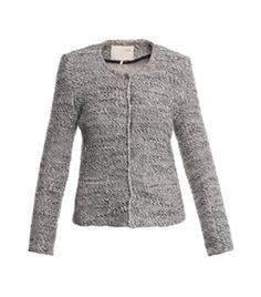 Seva Boucle Box Jacket by Iro. Light grey, collarless boucle jacket with a round neck, long sleeves, a hidden buttoned, centre front fastening, two front pockets and small shoulder pads. #Matchesfashion