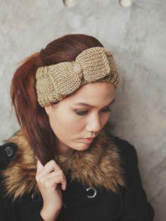 Cute Bow Knit Headband  Honey Tan by Rumraisina on Etsy, $19.95