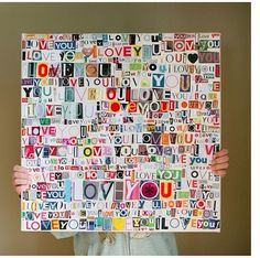 """Canvas modge podged to say """"I love you"""""""
